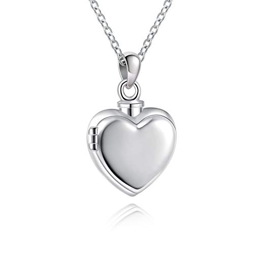 YWN 925 Sterling Silver Hold Photo and Ashes Locket Cremation Necklace Memorial Ash Pendant Urn Locket Jewelry for Women Remembrance Keepsake Gift for Loss of Loved Furry Friend
