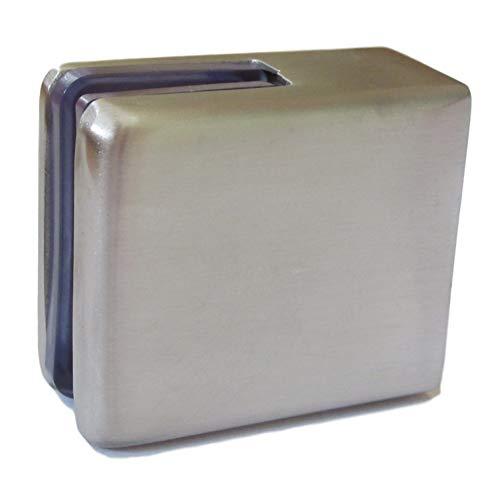2 abrazaderas de cristal de acero inoxidable para cristal de 6 mm o 8 mm, herraje de sujeción para acristalamiento barandilla balcón – Forma de soporte rectangular (para cristal de 8 mm de grosor)