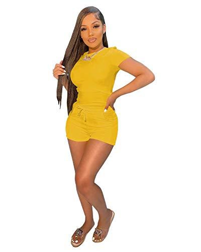 TOPSRANI Womens Two Piece Outfits Bodycon Tracksuit Sweatsuits Jogger Biker Workout Lounge Pajamas Shorts Pant Sets Yellow L