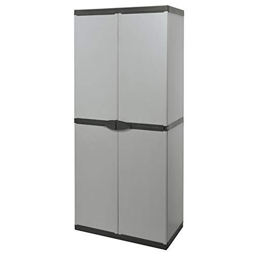 Mediawave Store - Armadio alto in PVC 68x40x168 cm art 9233 con 4 ripiani e 2 ante, Armadietto in Plastica, resina, per interni ed esterni, Armadio metallico Porta Oggetti, anche per garage