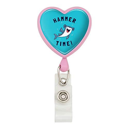 Hammerhead Shark Hammer Time Funny Humor Heart Lanyard Retractable Reel Badge ID Card Holder