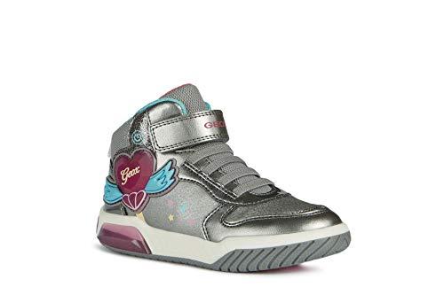 Geox J Inek Girl A, Zapatillas para Niñas, Dk Silver/Fuchsia, 28 EU