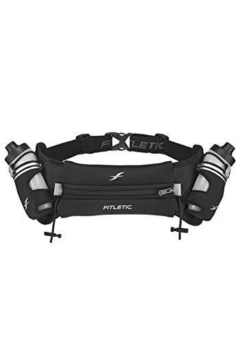 Fitletic Hydra 16 Trail Hydration Belt – Small/Medium, Black | Patented No Bounce Technology for Marathon, Triathlon, Ironman, Trail, 5K, 10K | Running Belt | Race Belt | HD08-C1S