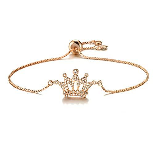 Crown Charm Bracelet Pulseras de circonita para mujer Cadena de cobre ajustable Joyería de fiesta femenina