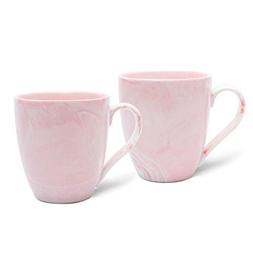 Hausmann & Söhne XL Tasse weiß groß aus Porzellan in Pastell rosa Marmorierung | Tasse 350 ml (400 ml randvoll) im 2er Set | Kaffeetasse/Teetasse | Kaffeebecher Marmor | Geschenkidee