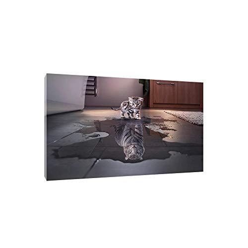 VSOO Wandbild Katze Reflexion Tiger dekorative Malerei Kunst Leinwand Wandbild Panel Dekorationen Moderne Leinwand Wandkunst Malerei Decor Kein Rahmen-60x80cm