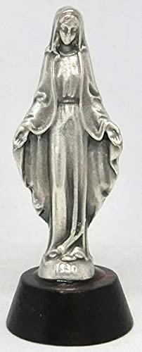 GTBITALY 40.049.30 002 - Estatua de Virgen Milagrosa sobre base de madera plateada, altura 6 cm