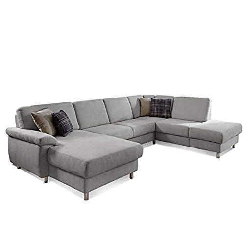 CAVADORE Wohnlandschaft Winstono mit Federkern und Longchair links / U-Form mit Bettfunktion und Relaxfunktion / 317 x 88 x 220 / Hellgrau