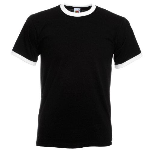 Fruit of the Loom - Camiseta para hombre con cuello y tira en mangas de otro color negro negro Large