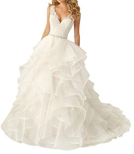 VKStar® Robe de Mariée Princesse Dentelle Col V Robe Mariage Femme Longue Organza Robe Mariée Boule Elégante Dos Nu Ivoire 42