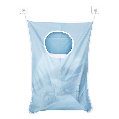 AooYo ランドリーバッグ 洗濯かご 壁掛け収納 吊り下げ収納 洗濯ボックス 洗濯物入れ ウォールポケット 折りたたみ 脱衣かご おしゃれ ランドリー収納 汚れた服の収納袋 雑貨収納 取り付け簡単 ライトブルー