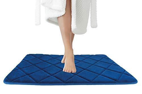 JAWAonline Badezimmerteppich Blau - Pflegeleichte Badematte Memoryschaum - Extrem Saugfähiger Badteppich - Badvorleger rutschfest Waschbar - Duschvorleger - Bad Teppich Badezimmer 50x80cm
