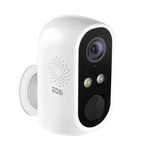 ZOSI C1 Cámara de Vigilancia WiFi Inalámbrica con Batería Recargable de Gran Capacidad, Audio Bidireccional, Visión Nocturna Color, Detección Humana