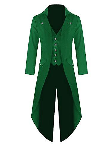Mens Steampunk Victorian Jacket Gothic Tailcoat Costume Vintage Tuxedo Viking Renaissance Pirate St. Patricks Day Coats Green