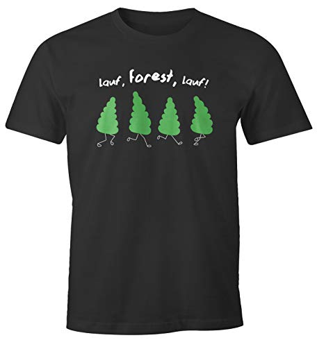 MoonWorks® Herren T-Shirt Fun-Shirt Spruch lustig lauf Forest lauf Baum Motive Parodie Filmzitat Ironie Wortspiel anthrazit L