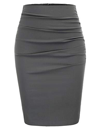 GRACE KARIN Women Above Knee Slim Fit Business Pencil Skirt Size L,Dark Grey