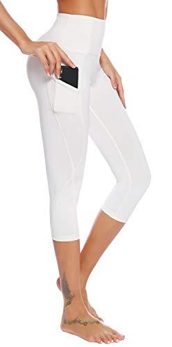 AUU Women Workout Clothes Athletic Leggings Capri Activewear Hot Yoga Pants (White,XXL)