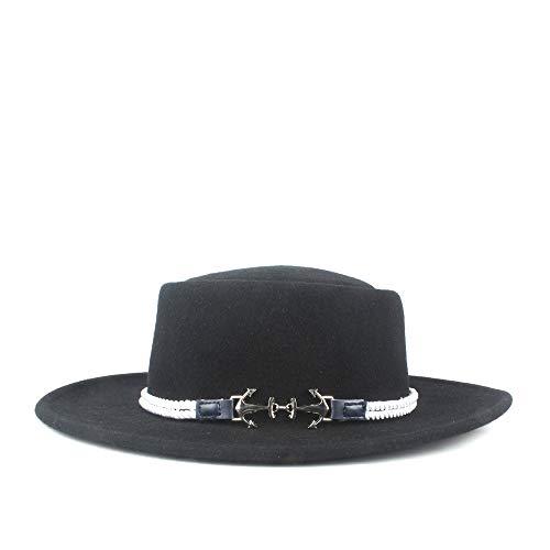 TX GIRL Fieltro de Lana Sombrero de Copa Hombres de Las Mujeres del Borde Ancho del Sombrero de Fedora otoo Barquero Plana Sombrero de Copa (Color : Black, Size : 56-58)