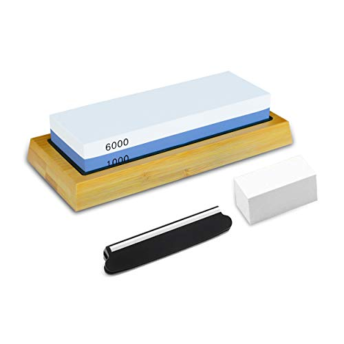 PHYEX Knife Sharpening Stone Combination Dual Sided 1000/6000 with Non Slip Base Flattening Stone amp Angle Guide