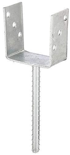 GAH-Alberts 214289 U-Pfostenträger | mit Betonanker aus Riffelstahl | feuerverzinkt | lichte Breite 101 mm | Länge Betonanker 200 mm