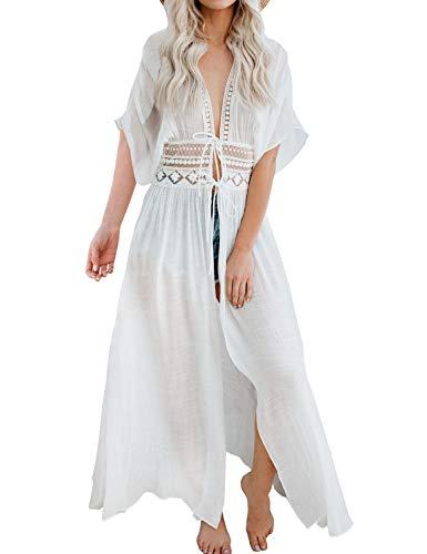 FANCYINN Damen Maxi Strandkleid Cover up Bikini Boho Kimono Lang Strand Cardigan Leichte Strickjacke Beachwear Strandponcho Badeanzug Vertuschen Weiß