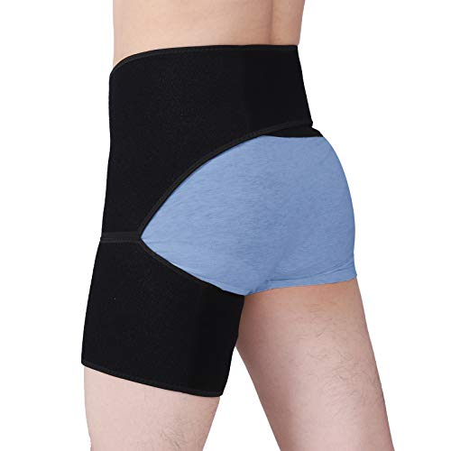 Hip Brace Groin Thigh Supports Compression Sleeve Adjustable Hip Support for Hamstring, Quad, Pulled Muscle, Sciatica Nerve, Hip Flexor, Strain, Arthritis, Men and Women Sciatica Pain Relief