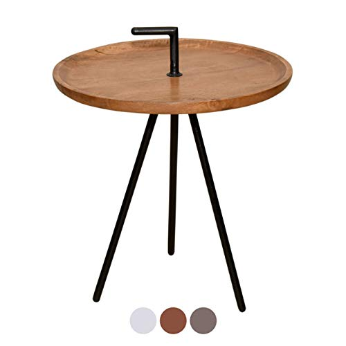 Soma, Tabacco bijzettafel, rond, diameter 50 cm, metalen frame, oudzilver of zwart, afmetingen 50 x 55 x 50 cm