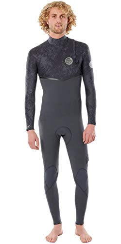 RIP CURL Herren E-Bomb 3/2mm Zip Free Wetsuit - Charcoal Grey - Easy Stretch Leicht Flash - Futter