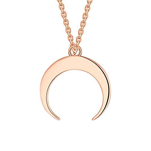 JO WISDOM Collar de Luna Creciente, Plata de ley 925,Colgante Media Luna con baño de oro rosa, Joyería para Mujer