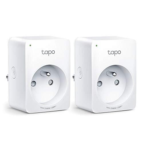 TP-Link Tapo Prise Connectée WiFi, Prise Intelligente Alexa et Google home 10A, Contrôler le ventilateur/lampe à distance par smartphone, aucun hub requis, Tapo P100(FR) 2 Pack