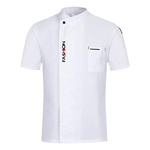 Freahap Camisa de Chef Cocina Manga Corta para Verano para Hombres y Mujeres, Chaqueta de Cocinero Camarero Diseño Clástico Transpirable y Cómodo Blanco XL
