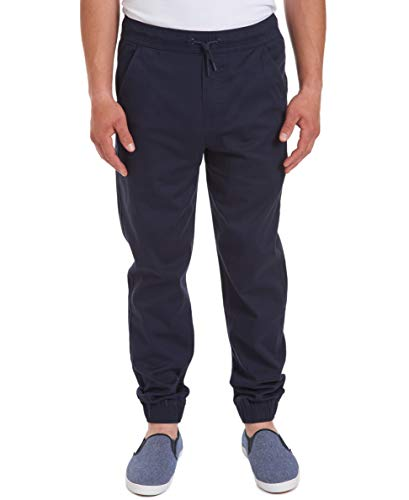 IZOD Uniform Young Men's Stretch Twill Jogger Pant, Navy, Medium (32/34)