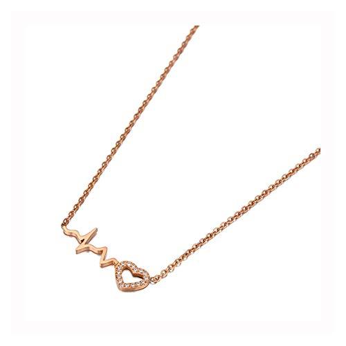 Titan Edelstahl Schöne Herz Charm Halsketten Schmuck Kristall Anhänger Kette Halskette für Frauen ZZBiao (Color : Rose Gold Color)