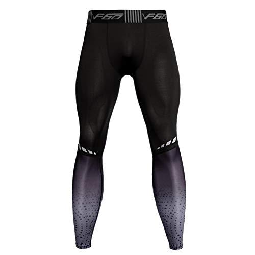 Garneck Männer Kompressionshose Trocken Elastisch Laufen Eng Sport Legging Lange Hosen für Fitness-Training XXL (Grau)