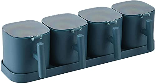 kruidendooscontainer: Kruidenpot met dienbladset Vochtbestendige verzegelde zoutvaatje Keuken PP Driedelige kruidendoos Opslagcontainer met lepeldeksel