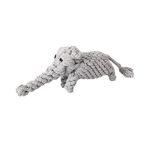 DaoRier Hundespielzeug Kauspielzeug Personalisierte Tier Thema Design Geflochten Baumwollseil für Hunde Haustier Spielzeug (Elefant-Grau)