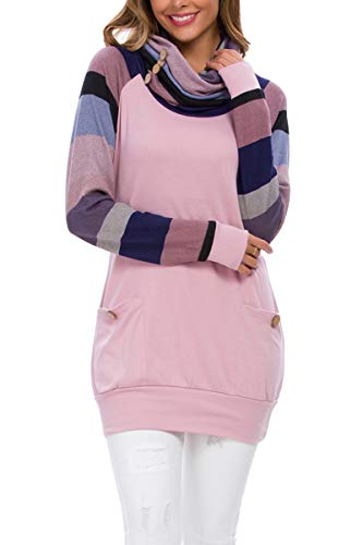 levaca Womens Long Striped Sleeve Pullover Sweatshirts Sweaters Tunic Tops Pink S