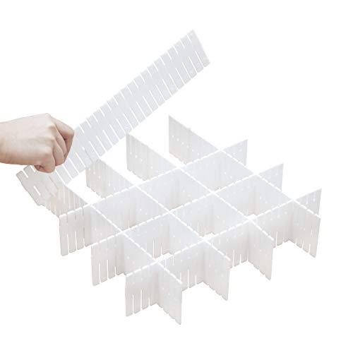 DIY Plastic Drawer Dividers 8 Pcs Dresser Kitchen Office Drawer Organizer Accessories Underwear Tools Utensil Plastic Storage (White)
