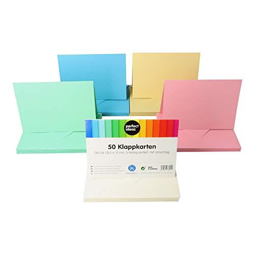 perfect ideaz 50 bunte Klapp-Karten DIN-A6 mit Brief-Umschlag (11 x 15,5 cm), nachhaltig in Deutschland hergestellt, Doppel-Karte in 5 Pastell-Farben, blanko Set, zum Basteln für Glückwunsch-Karten