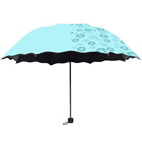 MLDYUS Revêtement Noir Trois parapluies pour Protection Solaire Anti-UV Opaque Parasol Non Automatique Petit Parapluie Vert Aqua
