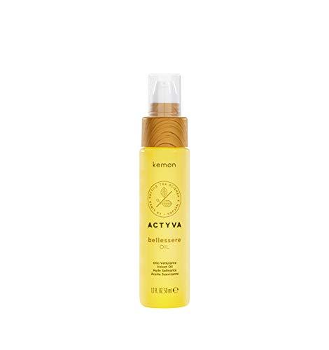 Kemon - Actyva Bellessere Oil, Olio per Tutti i Tipi di Capelli, con Oli di Argan e Lino, Effetto Seta e Anticrespo - 50 ml