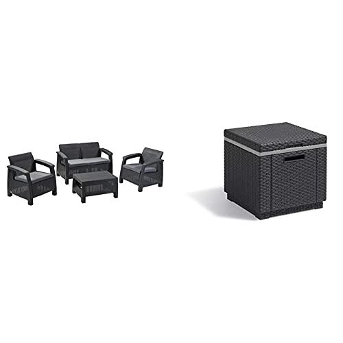Keter Corfu Lounge Set, Mobili da Giardino con Divano 2 Posti, 2 Poltrone E Un Tavolino con Cuscini & Allibert Contenitore di Raffreddamento con Cubi di Ghiaccio, Grafite, 218759