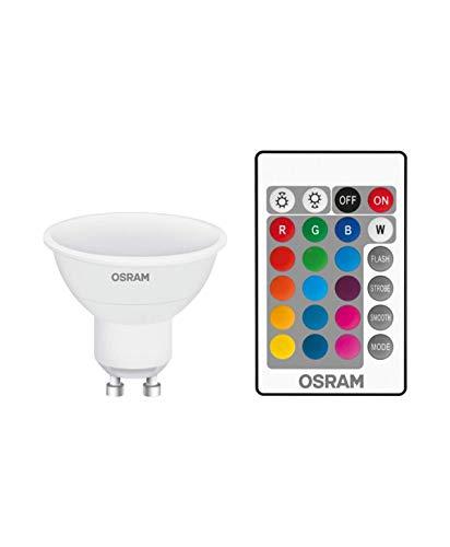 Osram LED Base PAR16 RGBW Reflektorlampe, mit GU10 Sockel, dimmbarkeit und Farbsteuerung per Fernbedienung, Ersetzt 25 Watt, 120° Ausstrahlungswinkel, Warmweiß - 2700 Kelvin, 1er-Pack