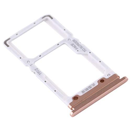 Compatible con Xiaomi Mi 9 Lite M1904F3BG / MI CC9 (6,39 pulgadas) Soporte adaptador ranura para tarjeta SIM carro Bandeja para Nano SIM + compartimento memoria Micro SD o tarjeta SIM2 (dorado/dorado)