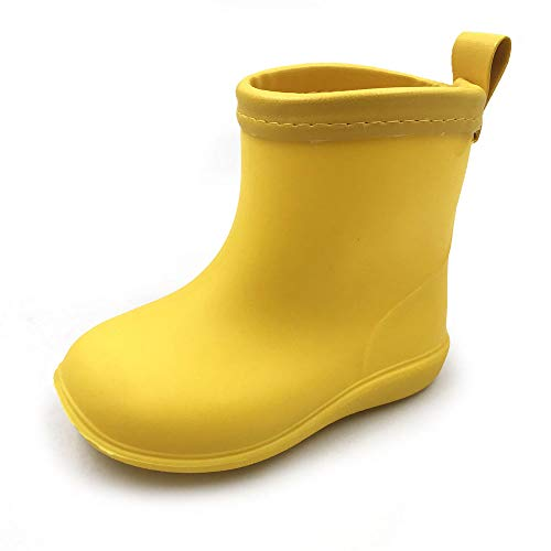 Amoji Kid Rain Boots Rubber Garden Shoes Waterproof Boots Children Child Infant Girl Boy Toddler Outdoor Easy On Yellow 11.5-12 Little Kid