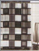 wohnideenshop Duschvorhang Tetrice Quadrate transparent Weiss grau schwarz 180cm breit x 200cm lang mit Ringe Vinyl
