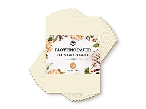 Berstuk Löschpapier zum Blumendrucken, groß, A4, 200 g/m², sehr saugfähiges und wiederverwendbares Bastelpapier, 10 Blatt