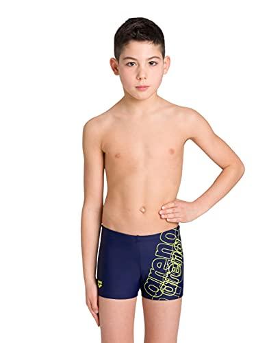 ARENA Spotlight Junior Costume da Bagno Bambino, Pantaloncini Mare e Piscina in Tessuto MaxFit Resistente a Cloro e Sale, Protezione UV UPF 50+, navy-Soft green, 8-9