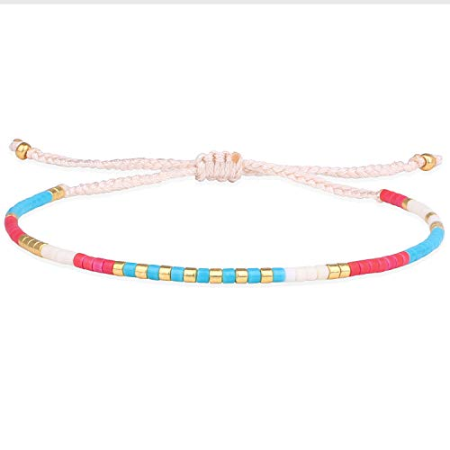 KELITCH Neue Miyuki Kristall Gemischt Strang Armband Hand Gewebt Freundschaft Armbänder Für Teen Mädchen (Rot Blau)