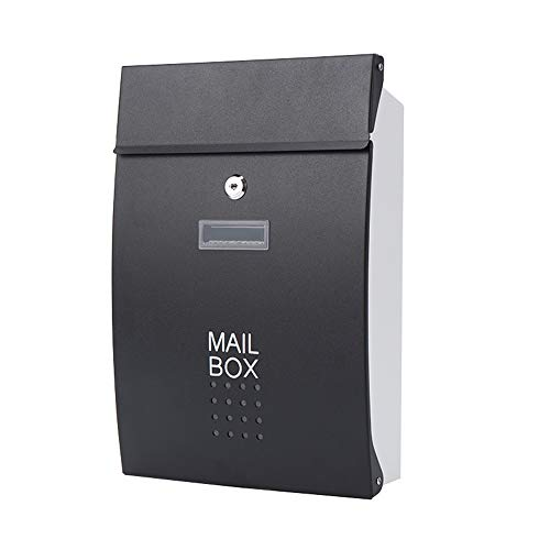 AOWU Classic Wall Mounted Letterbox European Style Letter Box Outdoor Rainproof Mailbox Wall-mounted Magazine Box For Villa Garden Home Office Safe Outdoor (Color : Black, Size : 37.5x8.5x25.5cm)